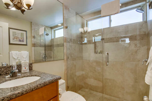 Full Bathroom with walk-in shower, toilet, and vanity sink.