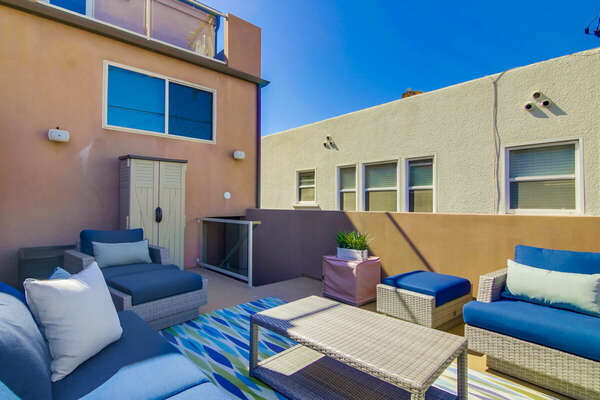 Sun Deck of this San Diego vacation home rental, offering great views.