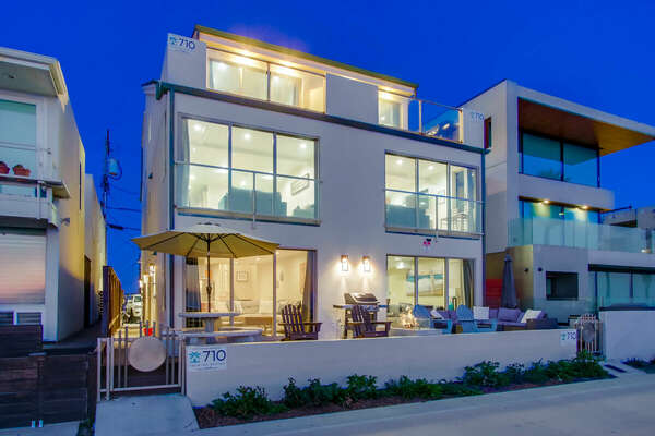 Exterior of this San Diego vacation home rental as seen at night.