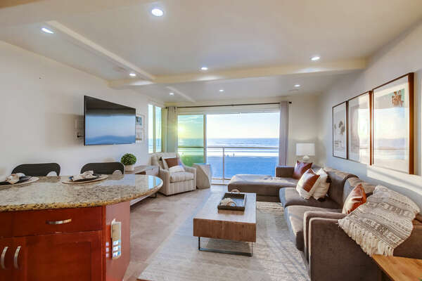 Living room off kitchen with ocean views