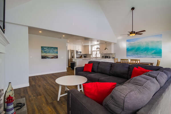 Living Room with High Ceilings and Sectional