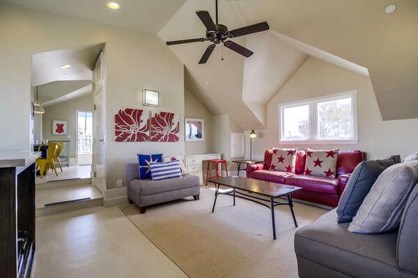 Living room in upper unit