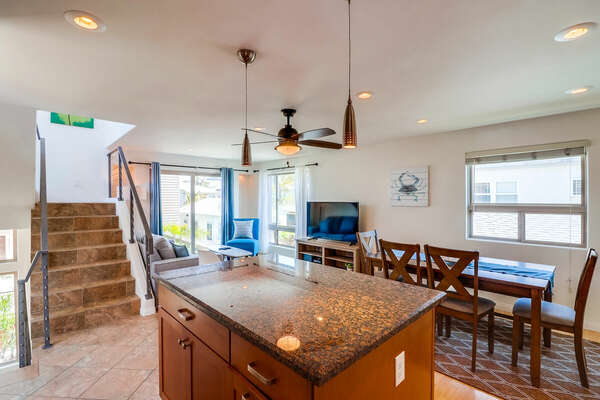 Kitchen Island with view into Dining Area