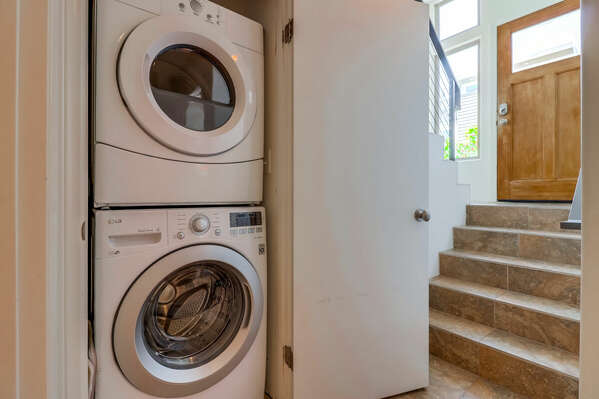 First Floor Laundry Room with stacking Washer/Dryer