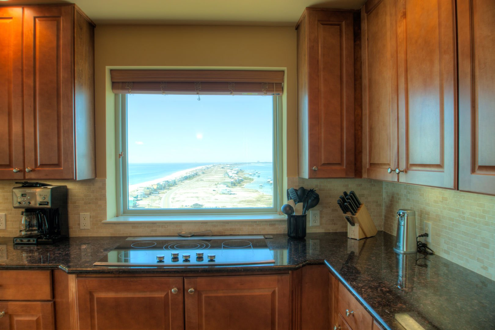 Kitchen Window with View of the Gulf and Little Lagoon.