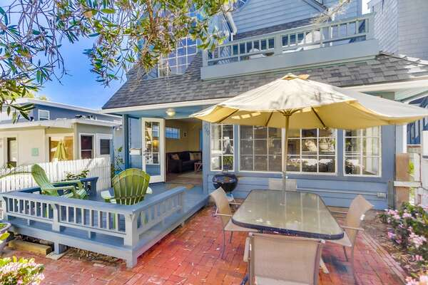 Spacious Patio and exterior of this San Diego vacation home rental.