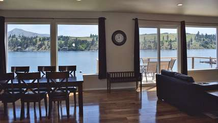 Beautiful views of Lake Chelan from the wall of windows in the kitchen, living, and dining areas.