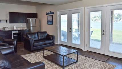 Downstairs family room with kitchenette