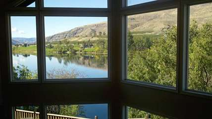 The view of the Columbia River from upper walkway in Main House