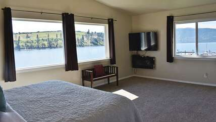 Views from master bedroom and flat-screen TV