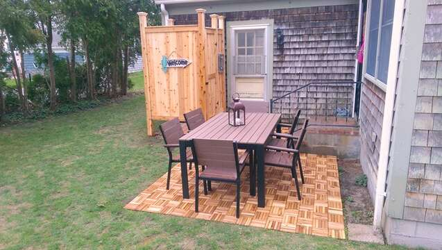 The patio has outdoor dining and a gas grill. There is an outdoor shower for your use as well ! - 13 Carol Lane West Harwich Cape Cod New England Vacation Rentals