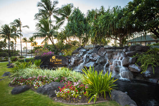 Entrance to Ko Olina Resort, with waterfall landscaping features.