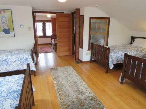 3rd floor  bedroom with 4 twins-  388 Main St-Chatham Cape Cod New England Vacation Rentals