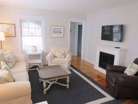2nd living area-view to  1st flr bath and bedroom off hall-388 Main St-Chatham Cape Cod New England Vacation Rentals
