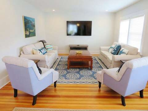 Living room with flat screen TV WiFi-388 Main St-Chatham Cape Cod New England Vacation Rentals