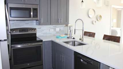 Top line appliances, custom cabinets are highlights.