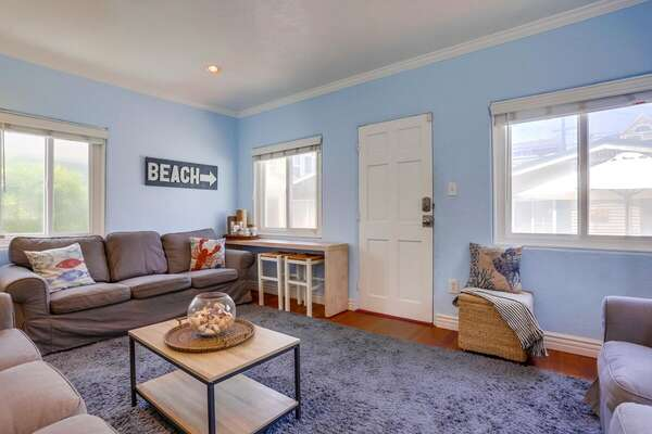 Blue Living Room in San Diego Vacation Rental.