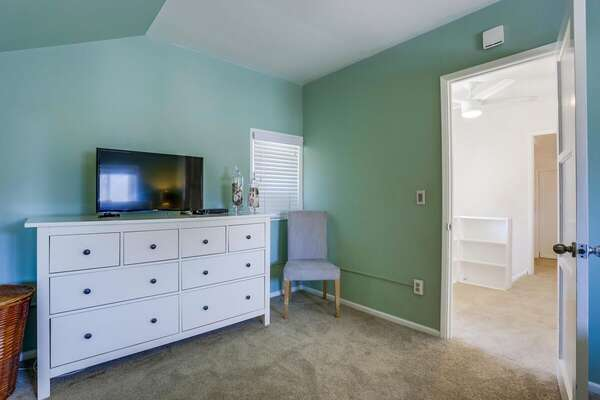 Large White Dresser in Bedroom.