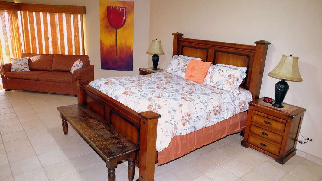 Master Bedroom with TV DVD and queen sleeper sofa!