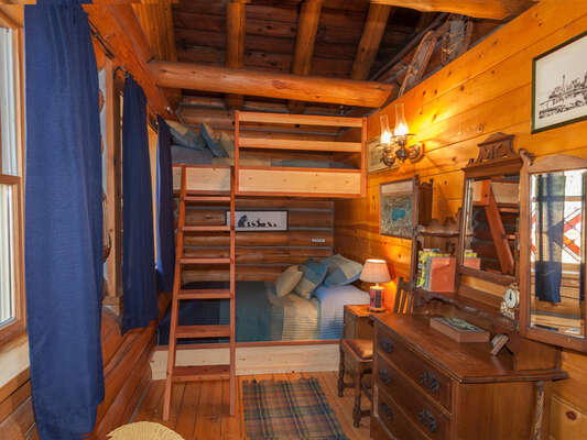 New built-in bunks with twin on top, double below - the kids will love it! Part fort, part bedroom