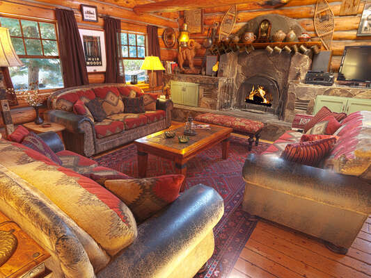The lodge's Great Room is warm and inviting