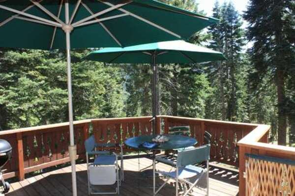 Back deck with lovely view into the forest