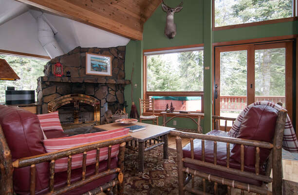 lovely great room with upscale lodge furniture