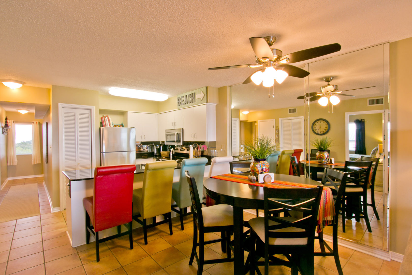 Dining Area and Kitchen with Bar Seating for four