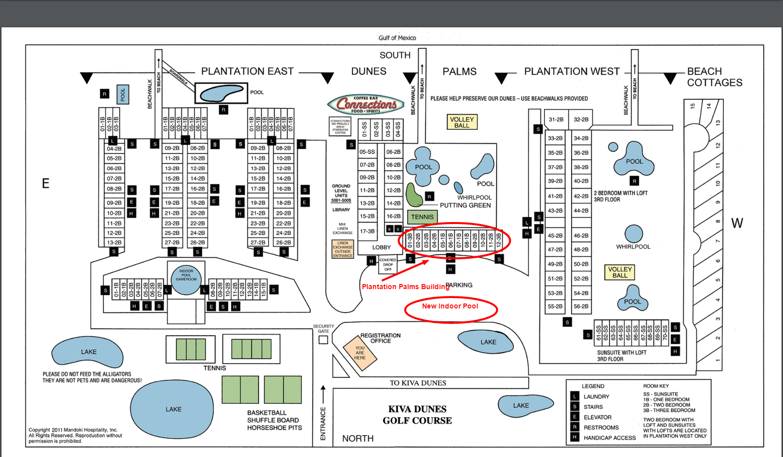 Plantation Palms Building and Amenities Map
