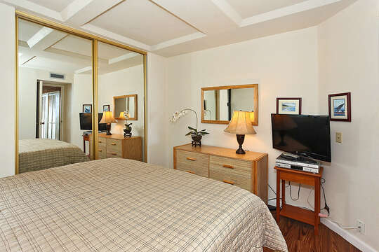 Bedroom with a Large Bed, Drawer Chest, Lamp, TV, and Mirrored Closet Doors.