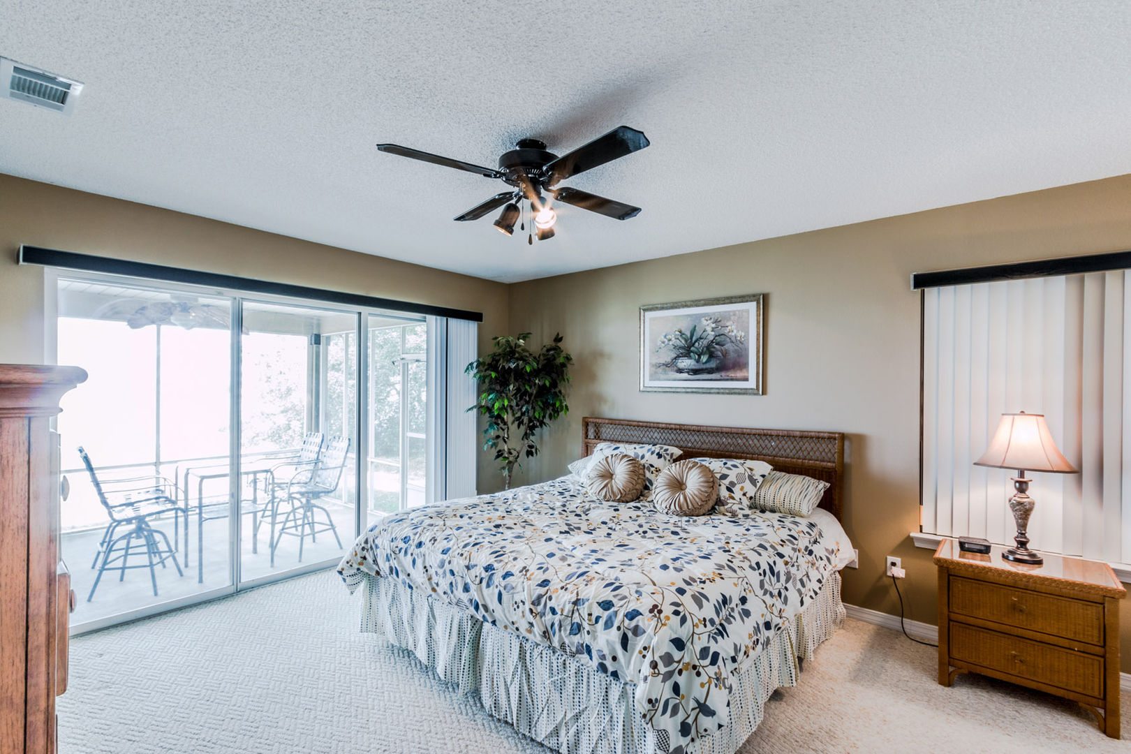 Master Has A King Bed, nightstands, and large dresser.