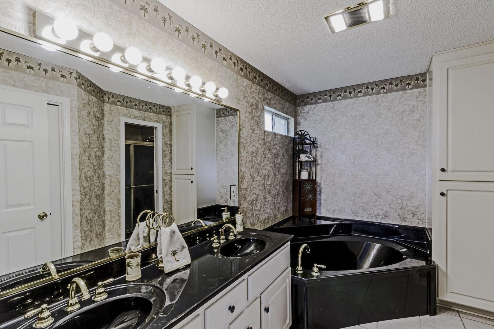 Master Bathroom with vanity sink and large tub.