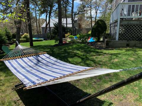 View from side of house -Relax on the hammock- 93 Pine Ridge Road Chatham Cape Cod New England Vacation Rentals