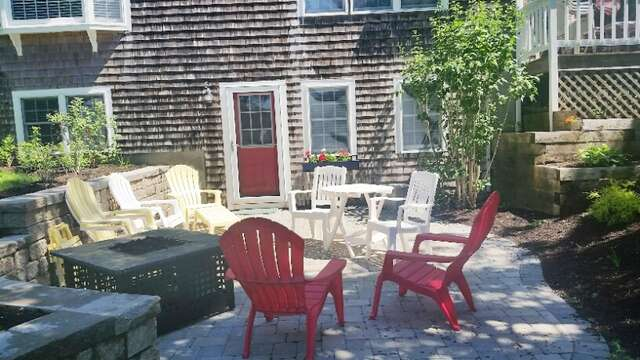 Outdoor patio with fire pit! 93 Pine Ridge Road Chatham Cape Cod New England Vacation Rentals