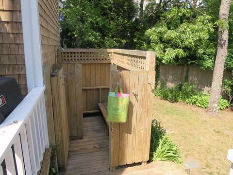 Enclosed outdoor shower with both hot and cold water - 93 Pine Ridge Road Chatham Cape Cod New England Vacation Rentals