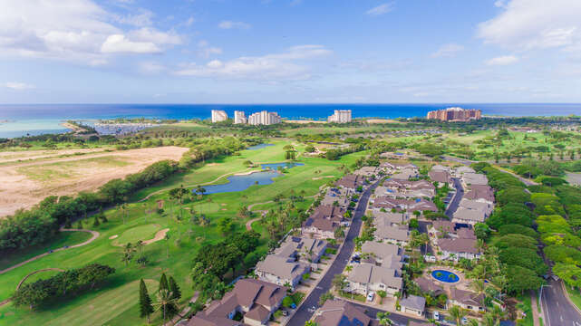 A good aerial view of the area around this Ko Olina Resort rental.