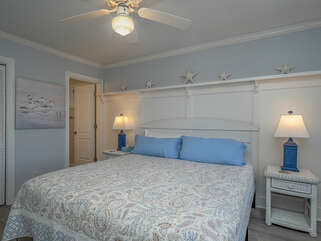 Off the great room is the master bedroom and en-suite bath.