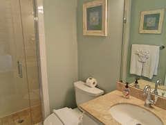 First floor queen bedroom Full bath with walk-in shower