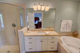 Second floor King bedroom private Bath With Garden Tub & stand-up shower