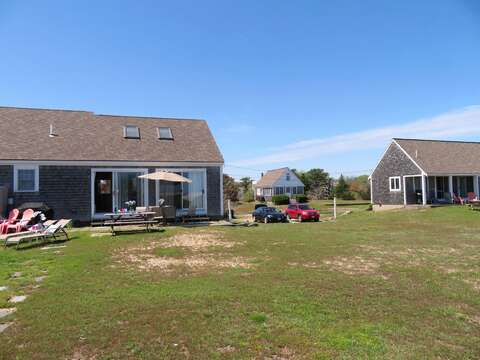 View of all 3 sister homes from water side Rent all 3 sister houses together! 46, 47, and 53 Little Beach Road  Chatham, Cape Cod  6 bedrooms, 4 bathrooms Will sleep 12! - 53 Little Beach Road Chatham Cape Cod New England Vacation Rentals