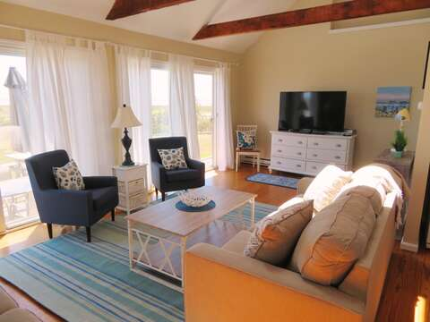 Flat Screen TV and WIFI -Sliders right out to the back yard, beach and lovely views!  53 Little Beach Road Chatham Cape Cod New England Vacation Rentals