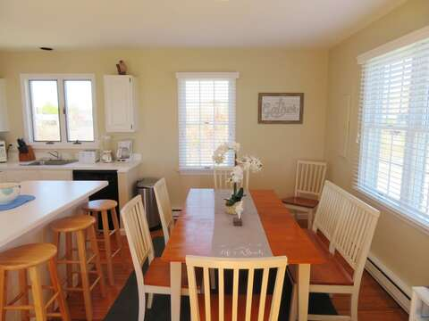 Plenty of places to sit for doing- including the breakfast bar with 3 stools or table that easily sits 6-8. - 53 Little Beach Road Chatham Cape Cod New England Vacation Rentals