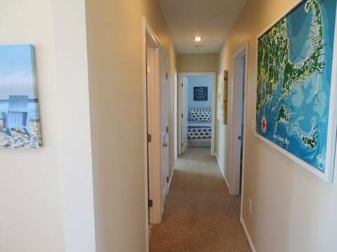 Hall to bedrooms and full bath- 53 Little Beach Road Chatham Cape Cod New England Vacation Rentals