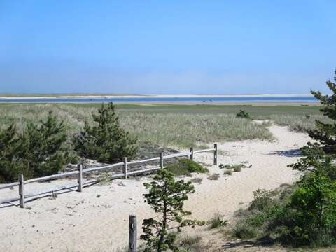 path is at the edge of the property directly in front of the house! - 53 Little Beach Road Chatham Cape Cod New England Vacation Rentals