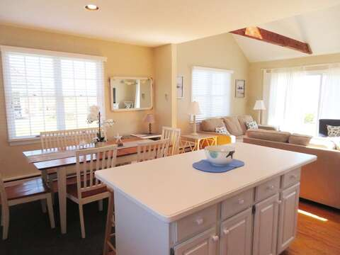 Overview of breakfast bar and dining area- 53 Little Beach Road Chatham Cape Cod New England Vacation Rentals