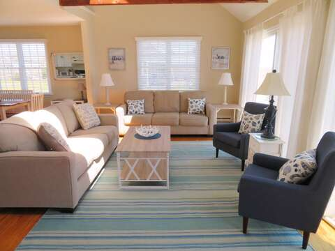 Comfortable ,coastal furnishings-Queen size pullout couch- 53 Little Beach Road Chatham Cape Cod New England Vacation Rentals