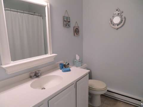 bathroom #1 with tub and shower off hall - 53 Little Beach Road Chatham Cape Cod New England Vacation Rentals