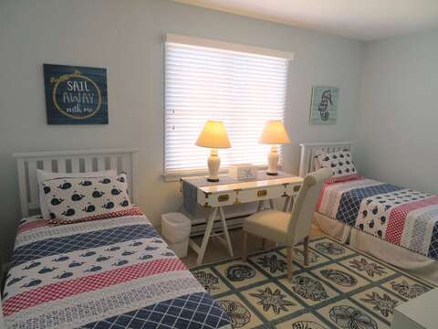3rd bedroom with twins at end of hall with A/C- 53 Little Beach Road Chatham Cape Cod New England Vacation Rentals
