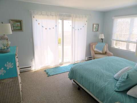 Master bedroom with lovely views and slider to patio, back yard and path to beach - 53 Little Beach Road Chatham Cape Cod New England Vacation Rentals