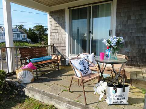 covered patio off back with picnic table and gas grill - 46 Little Beach Road Chatham Cape Cod New England Vacation Rentals